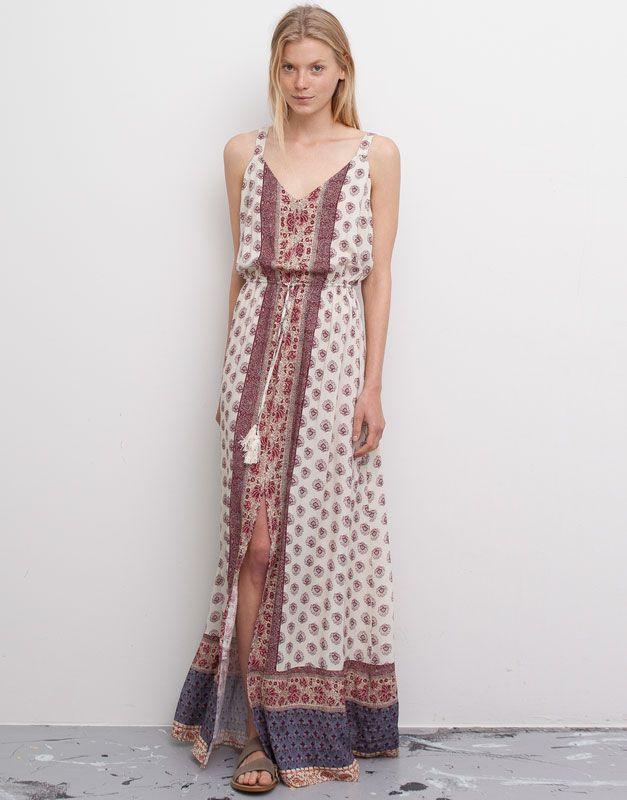 Vestido Fluido Largo Pompones Vestidos Mujer Pull Bear España Moda Vestido Fluido Vestidos