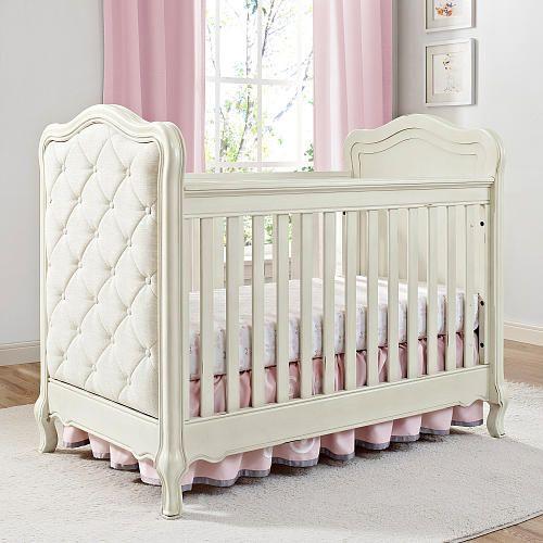 Bertini Tinsley 3 In 1 Upholstered Crib Antique White Dengan