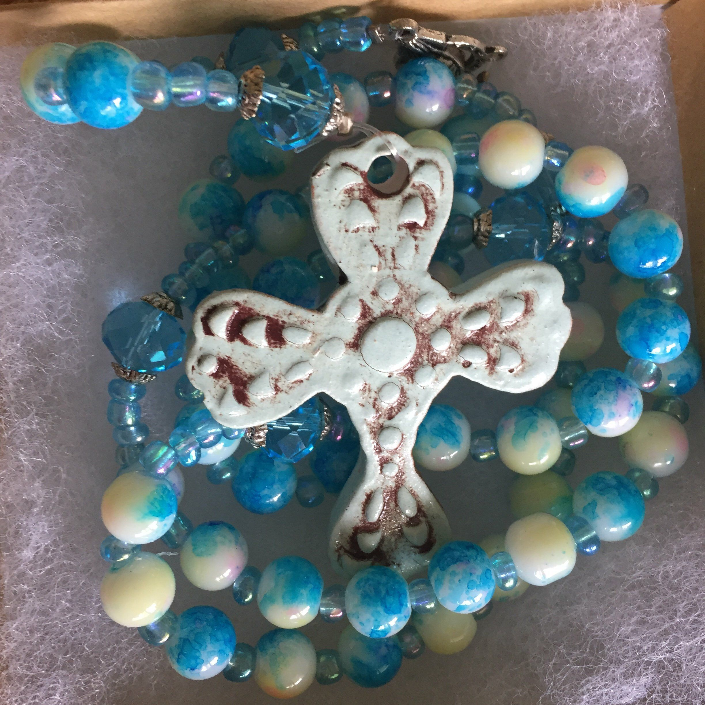 Rosary Turquoise With Baby Blue Cross Catholic Jewelry