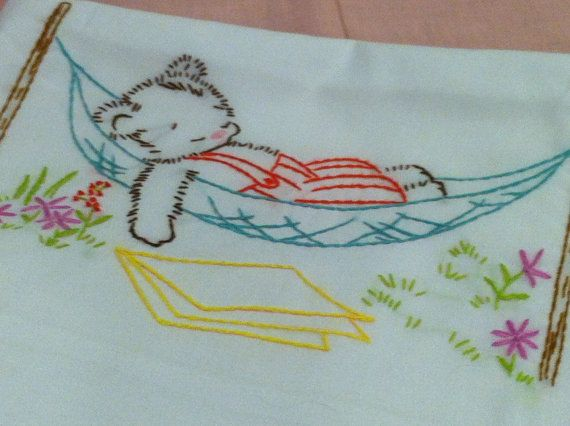 Coloring Pages Of Sleeping Animals : Sleeping bear pillowcase vintage embroidery pinterest hand