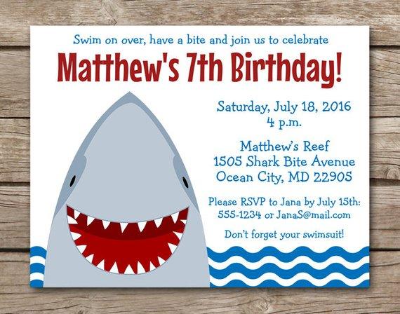 shark invitation shark birthday invitation shark party invitation