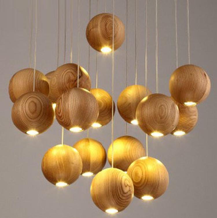 Moderne Kunst Hout Bal Hanglamp Landelijke Industriële