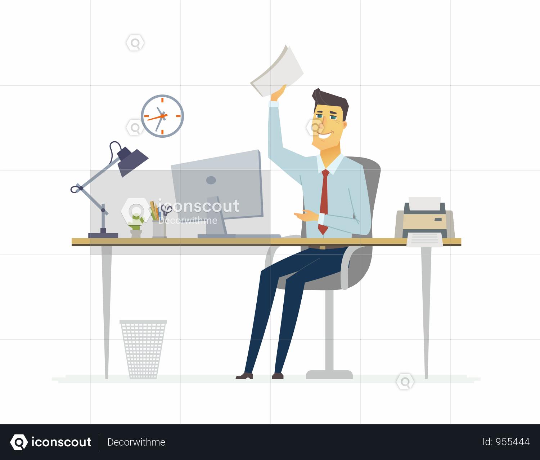 Premium Happy Office Worker Working On Desk Illustration Download In Png Vector Format Desk Business Illustration Design Resources