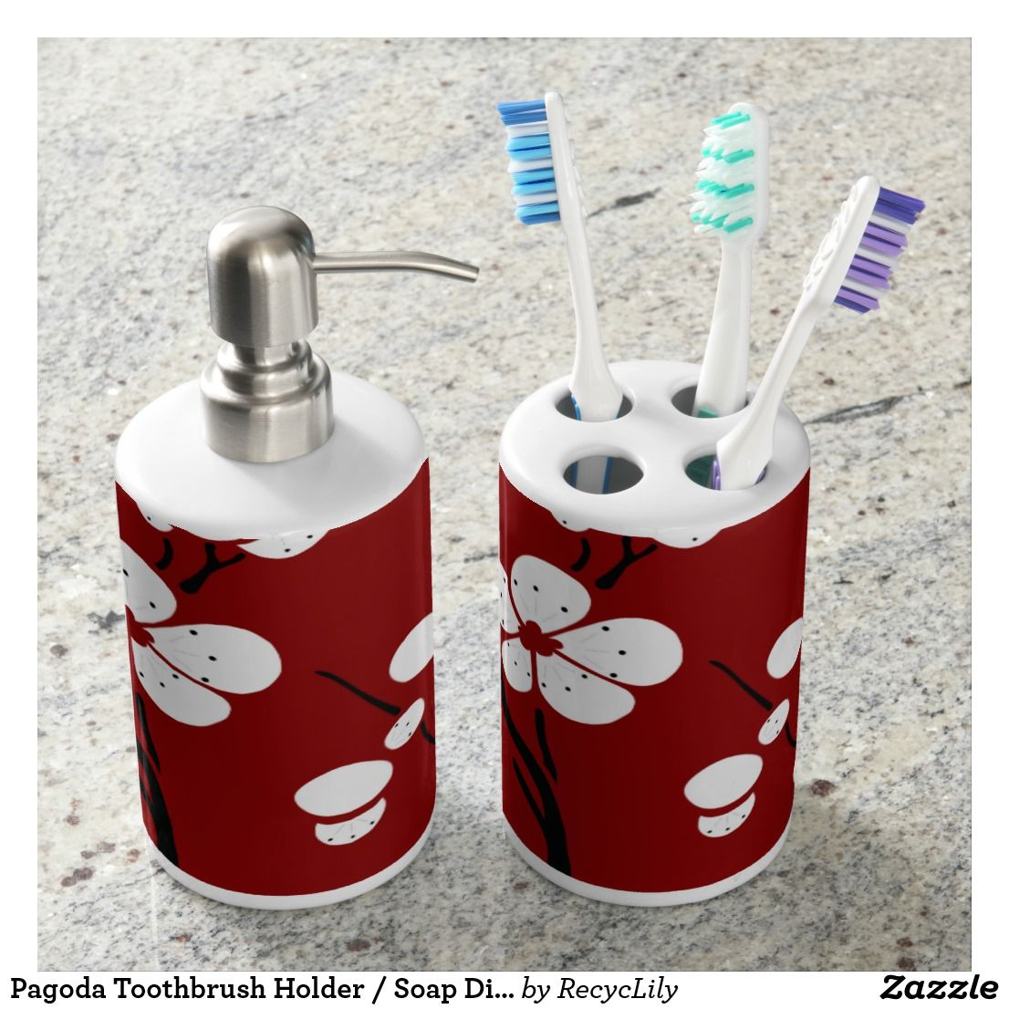Red Toothbrush Holder Bathroom Accessories. Pagoda Toothbrush Holder Soap Dispenser In Red