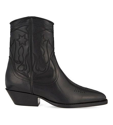 a4e3ecdde96 SANDRO Jim Stitch Detail Leather Ankle Boots. #sandro #shoes #boots ...