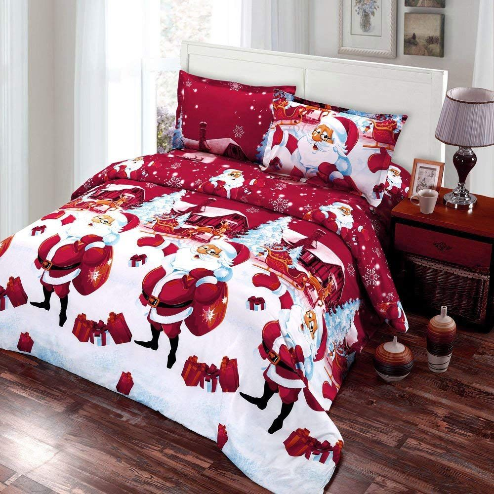 Amazon.com: Anself 4PCS Christmas Bedding Sets, Bed Sheet + Quilt ...