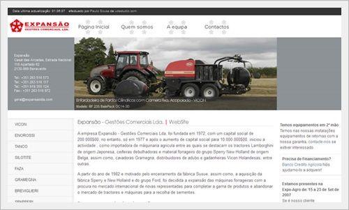 Website para Empresa Expansão Ldª Maq Agricolas