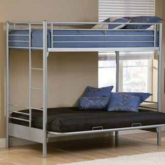 Universal Youth Futon Bunk Bed Hilale 1178bbf By Furniture 500 00 Overall Dimensions 70 H X 41 W 80 D The Silver And Navy