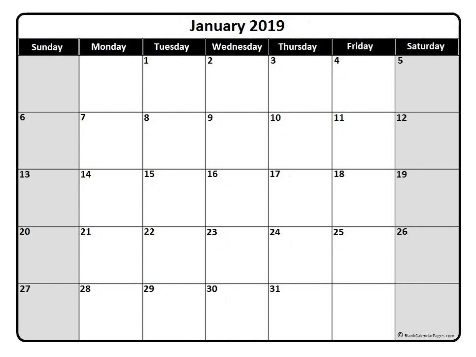 January  Monthly Calendar Printable  Printable Calendars