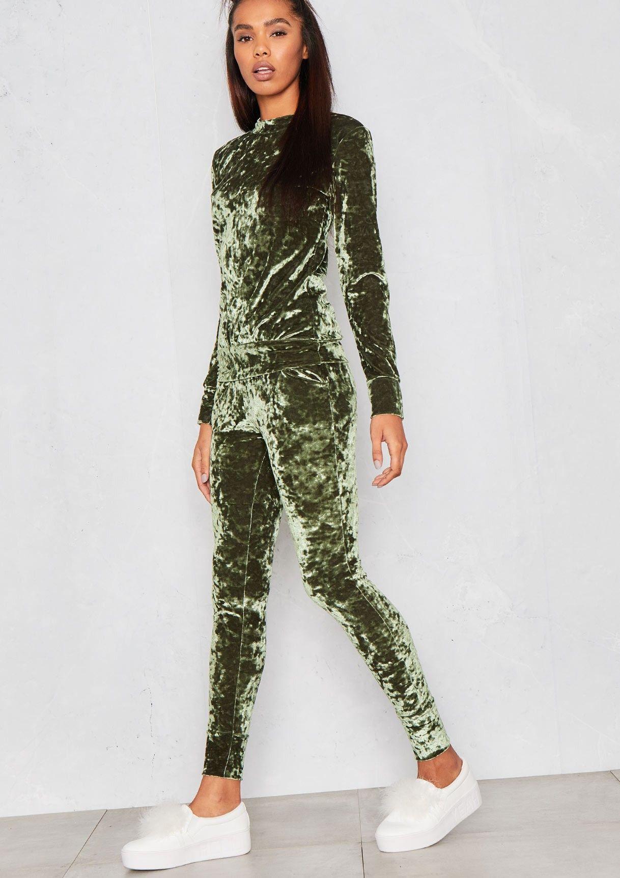 Viviana Green Crushed Velvet Lounge Tracksuit | Velvet