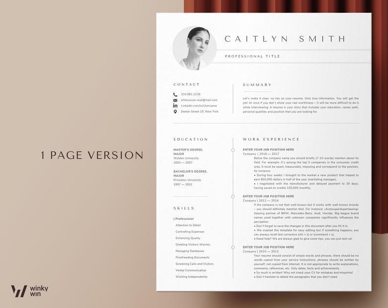 Resume Cv Template Etsy In 2021 Resume Design Cv Template Resume Design Template