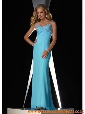 Sexy Blue Beaded Chiffon Long Spaghetti Straps Evening Dress...
