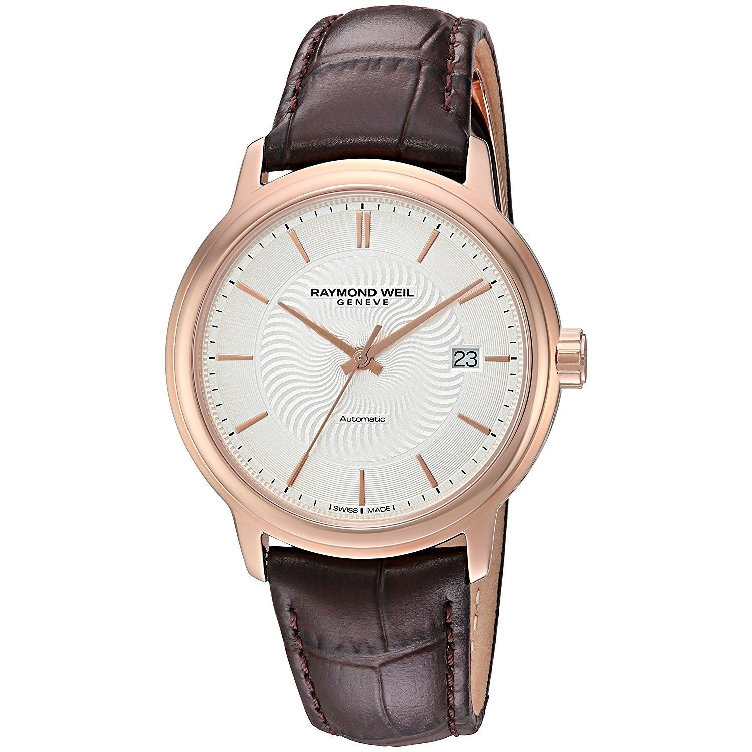 7ca5bf93214d Raymond Weil Men s 2237-PC5-65001 Maestro Automatic Brown Leather Watch