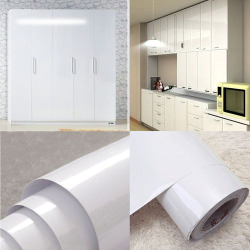 Glossy White Vinyl Self Adhesive Kitchen Cupboard Cover Film Contact Paper Ebay Kitchen Cupboard Doors Contact Paper Kitchen Cabinets Cupboard Doors