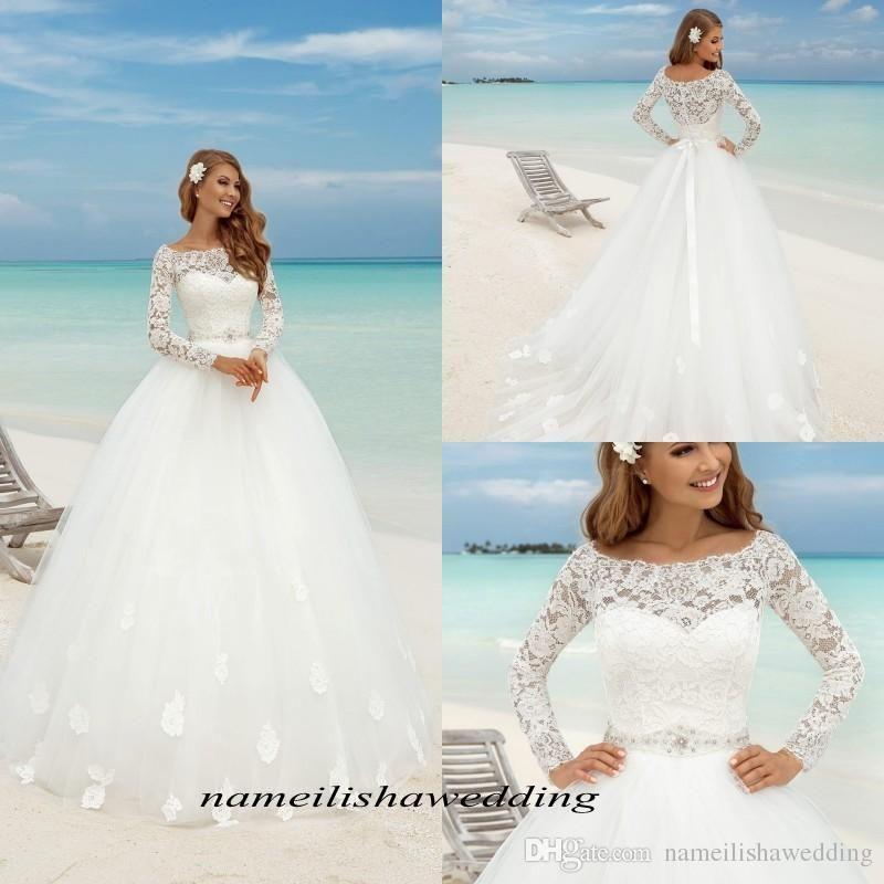 Simple Elegant Tulle A Line Scoop Neck Cap Sleeves Lace: Summer Beach Lace Wedding Dresses 2016 Elegant Scoop Neck