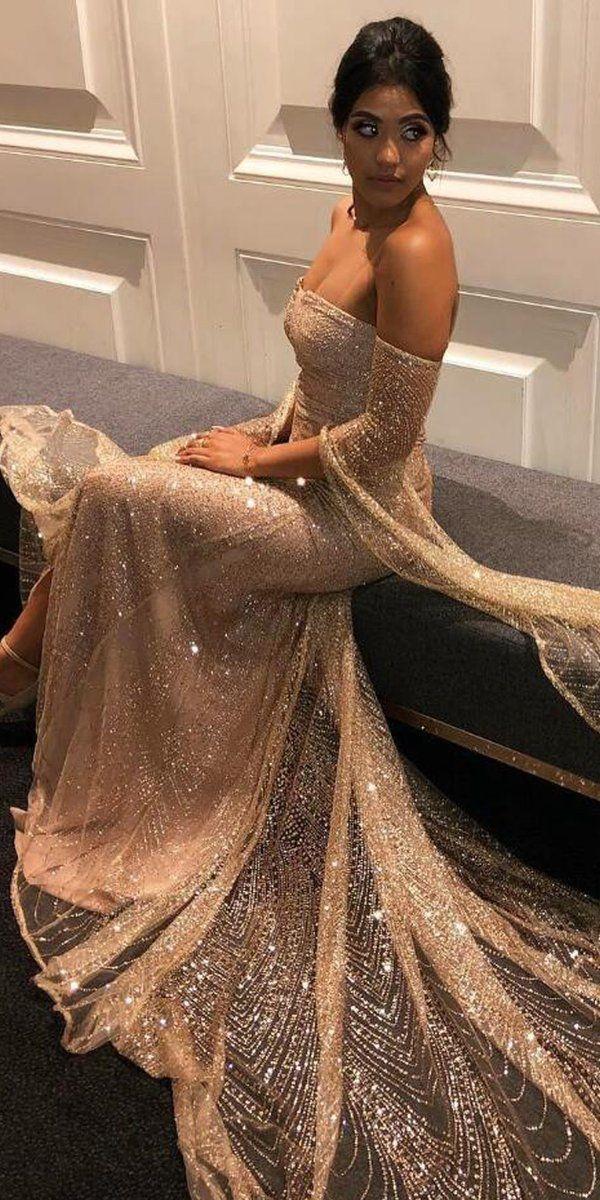 54d404379fa Off the Shoulder Sparkle Long Sleeves Long Prom Dresses, WP023 #promdress  #promdresses #
