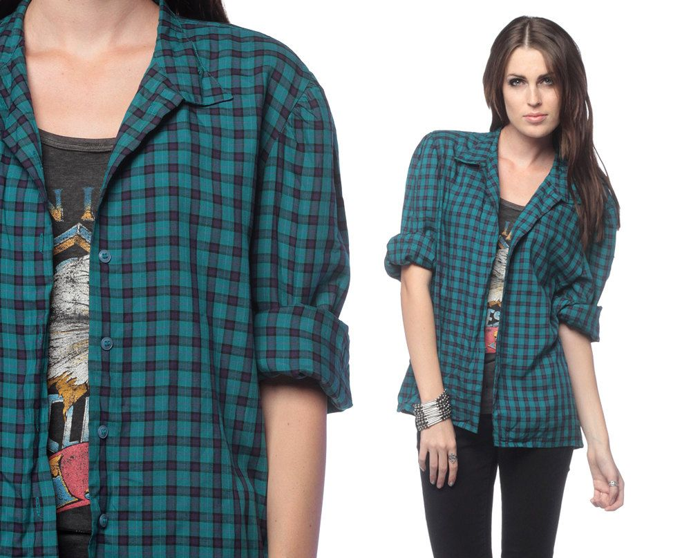 90s Grunge Shirt PLAID Checkered Teal 1990s Button Up Vintage ...