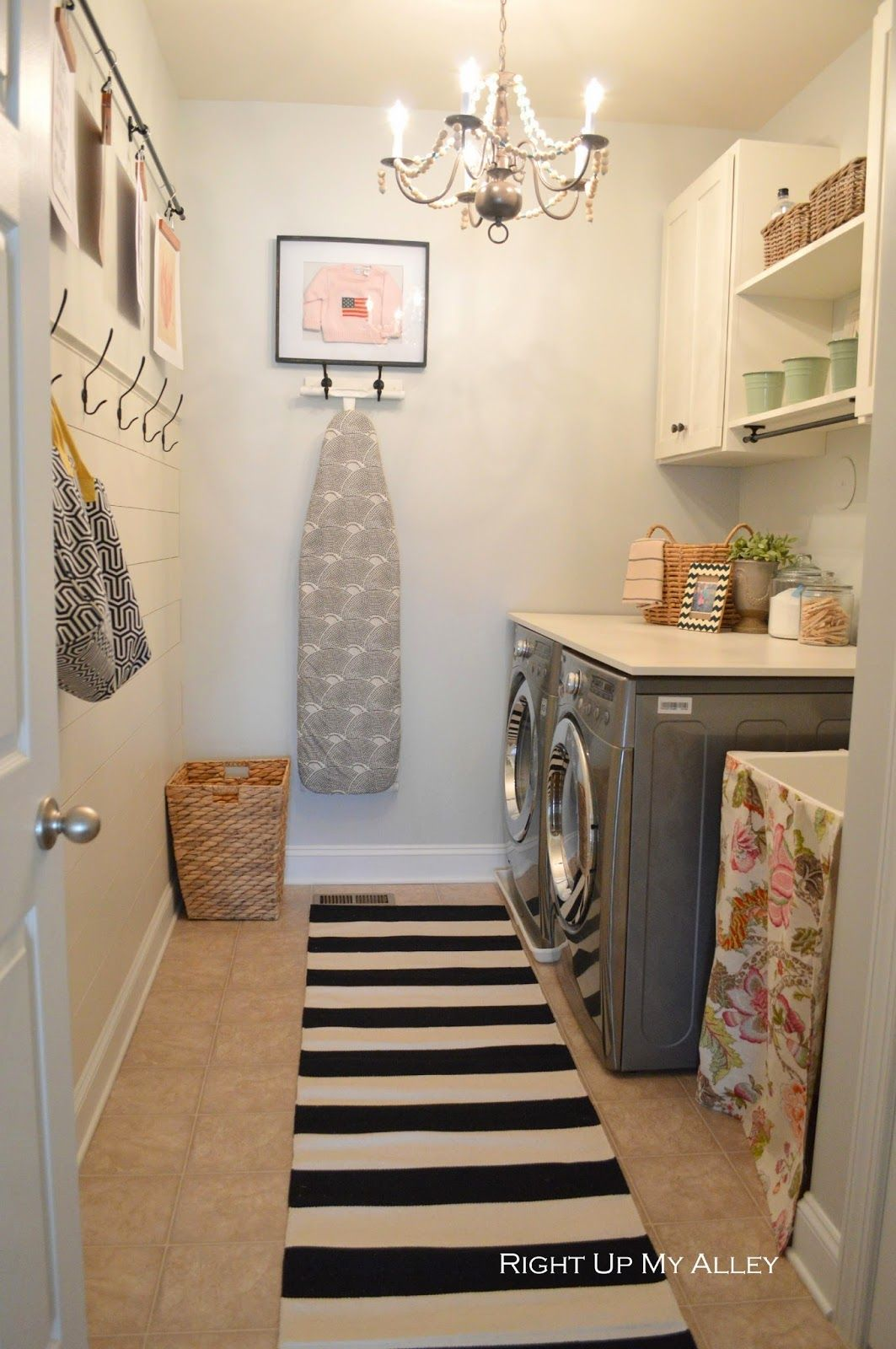 Laundry room wall decor pinterest - Orc Laundry Room Reveal I Like So Much About This Shelf Over Washer Dryer The Way The Ironing Board Is Hung With Art Above It Hooks On The Wall Art