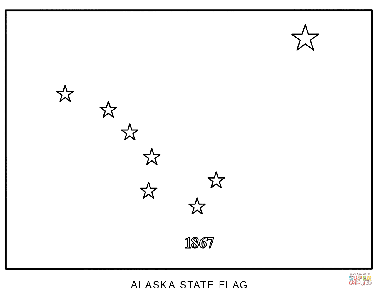 Flag Of Alaska Coloring Page