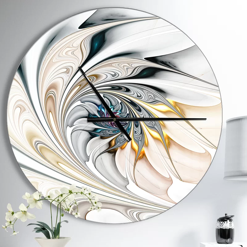Stained Glass Floral Art Wall Clock Metal Clock Wall Clock Modern Wall Clock