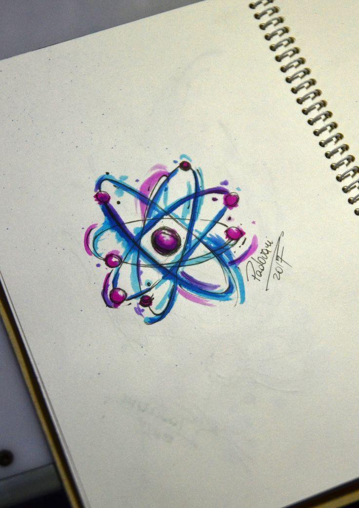 atom  watercolor tattoo sketch  Thiago Padovani