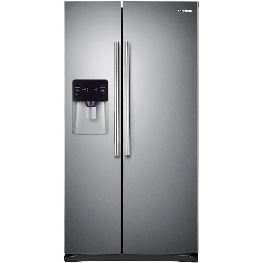 Samsung 24 5 Cu Ft Side By Side Refrigerator In Stainless Steel Rs25h5121sr Th Side By Side Refrigerator Stainless Refrigerator Refrigerator Sale