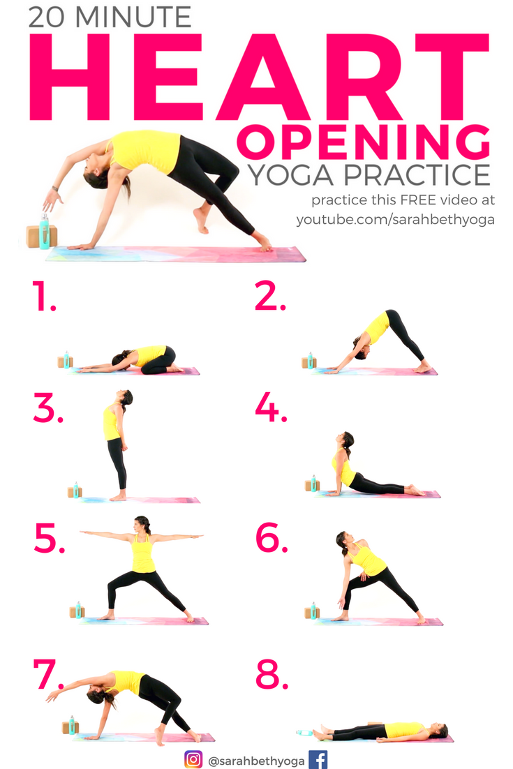 Click Through For The Free Video 20 Minute Heart Opening Yoga Practice By Sarahbethyoga Basic Yoga Poses Yoga Help Yoga Postures