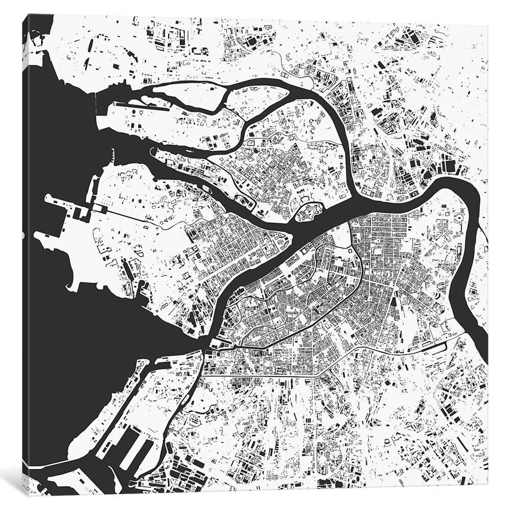 St. Petersburg Urban Map Graphic Art on Wrapped Canvas | Maps ...