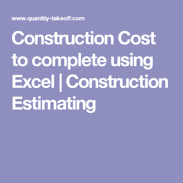 construction estimating using excel pdf