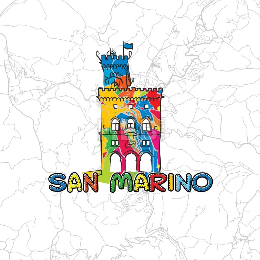 San Marino Colorful Map Sign By Hebstreit Map Travel Print - San marino map download