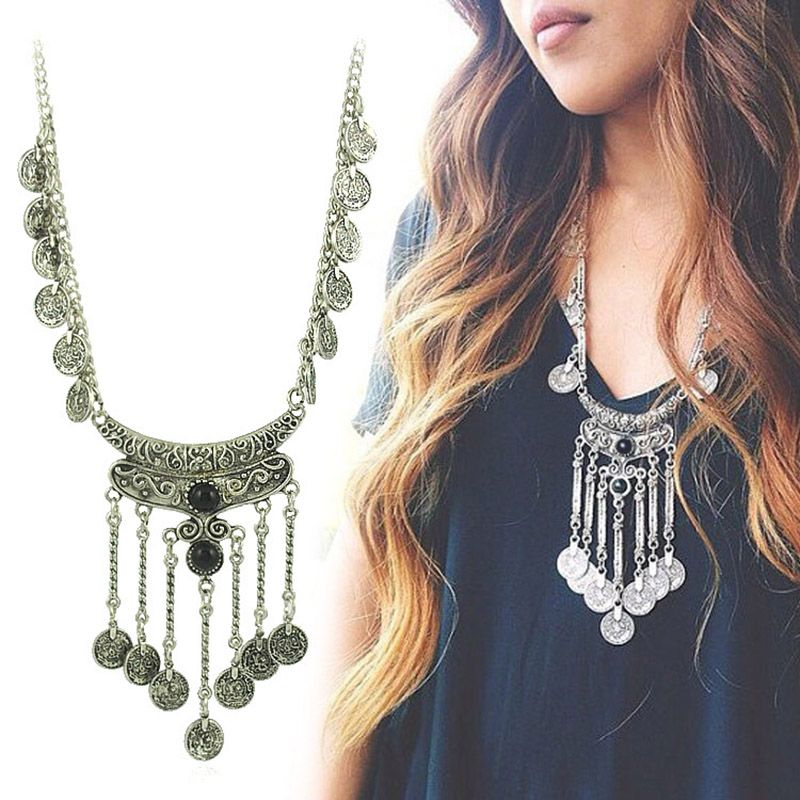 Ethnic Leather Turkish Gypsy Silver Coin Tassel Turkish Indian Tribal Necklace