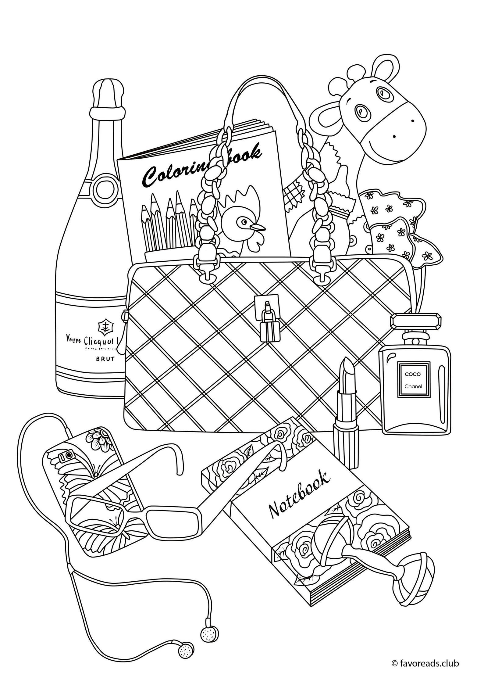 Purse Printable Adult Coloring Page From Favoreads Coloring