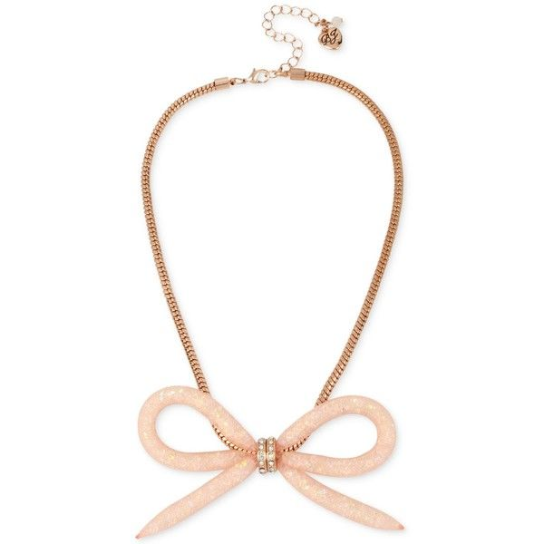 Betsey Johnson Rose GoldTone Crystal Mesh Filled Bow Collar