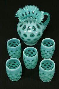 FENTON ART GLASS ~ Blue Opalescent Glass Coin Dot Pitcher & 5 Tumblers Water Set