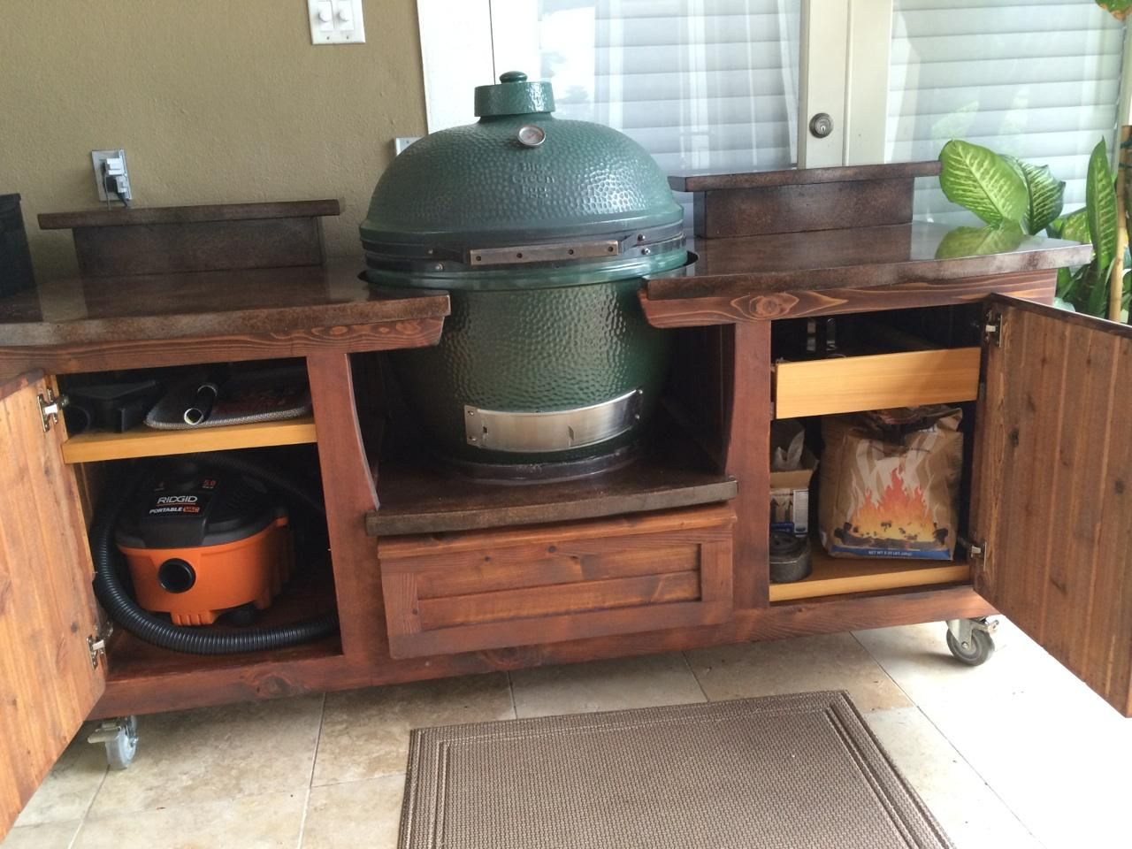 Nice MORGAN Design Big Green Egg Table W/ Plenty Of Storage And Concrete Tops!  Www