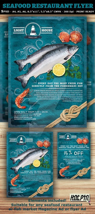 Seafood Restaurant Magazine Ad or Flyer Template and coupon is a - coupon flyer template