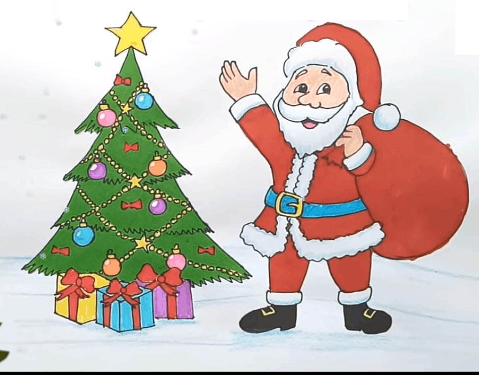 Christmas Drawing Step By Step For Kids Santa Claus With Christmas Tree Drawing Full V In 2020 Christmas Tree Drawing Christmas Drawing Merry Christmas Coloring Pages
