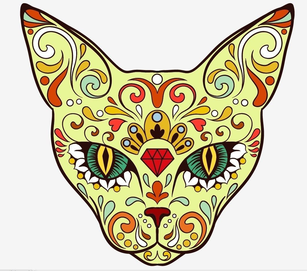 Day Of The Dead Sugar Skull Cat Sticker Crazy Cat Lady