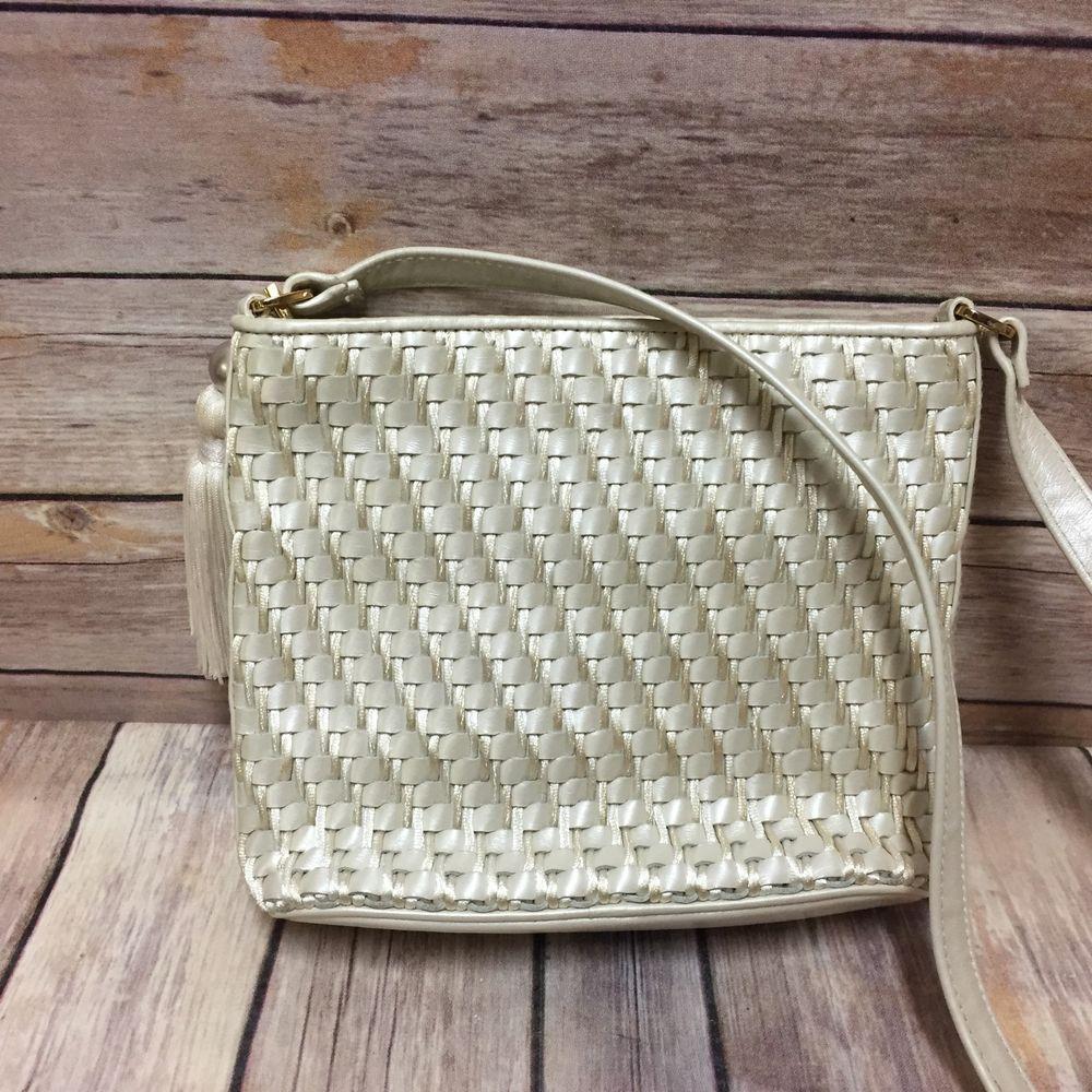 Vintage Ganson Handbag Shoulder Bag White Adjule Strap Tassel Messengercrossbody