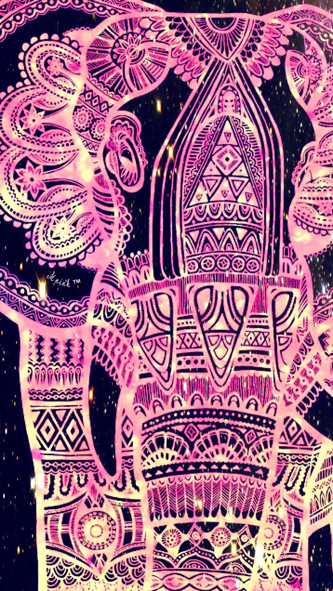 Tribal Pink Elephant Wallpaper/Lockscreen Girly, Cute
