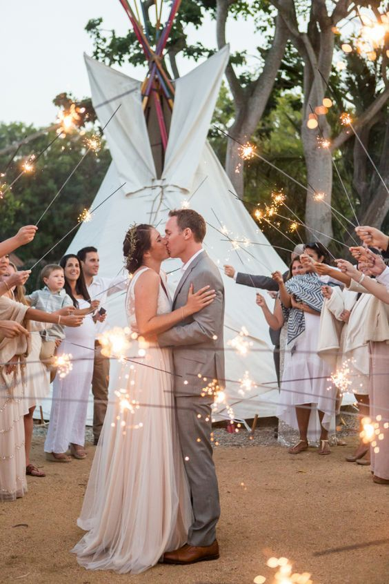 Diy Bohemian Inspired Wedding Wedding Sparklers Wedding