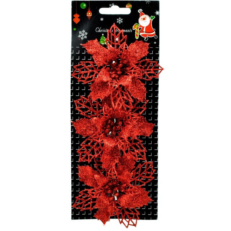 Sada troch vianočných ruží s trblietkami na štipci. Môžete nimi ozdobiť vianočný stromček a iné dekorácie.