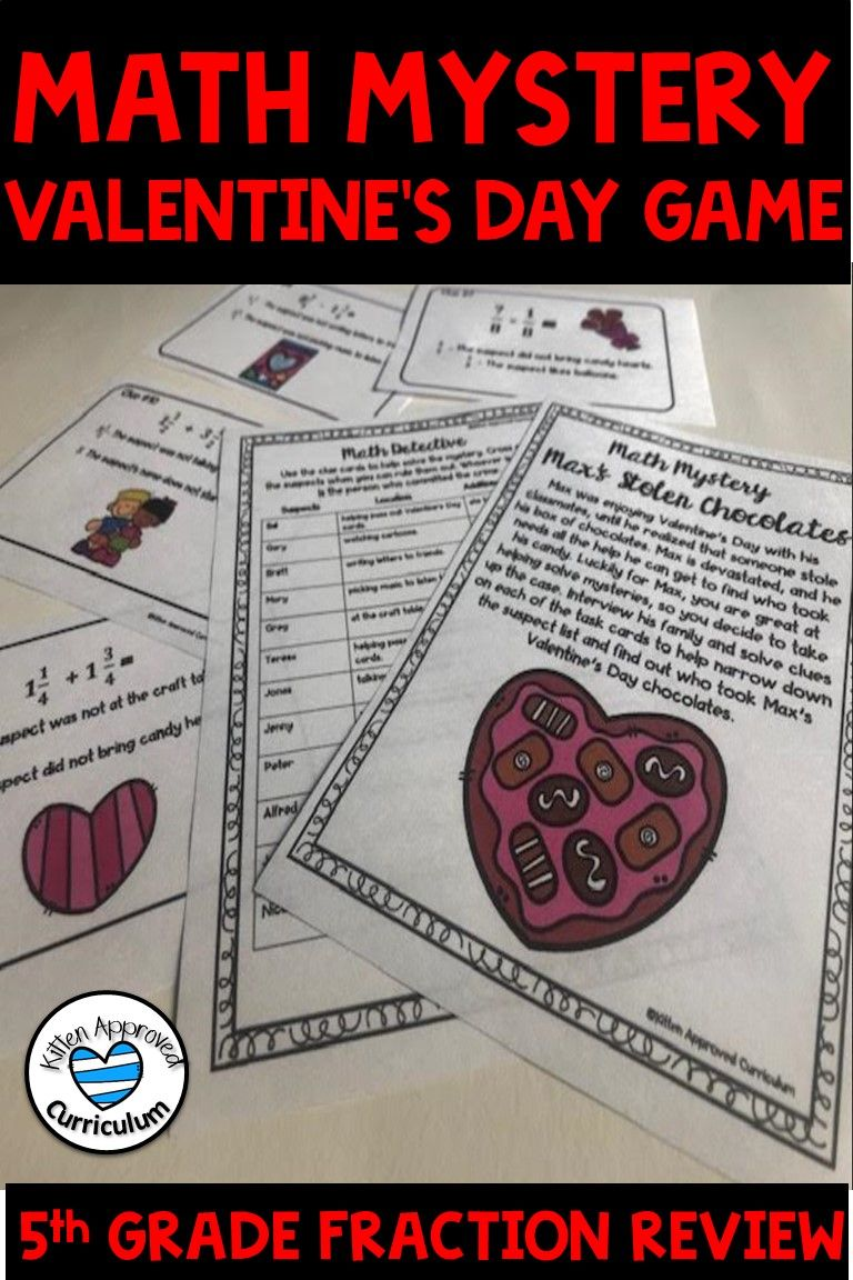 Valentines Day Fractions Activity Math Mystery Game Math Mystery Math Valentines 6th Grade Activities [ 1152 x 768 Pixel ]