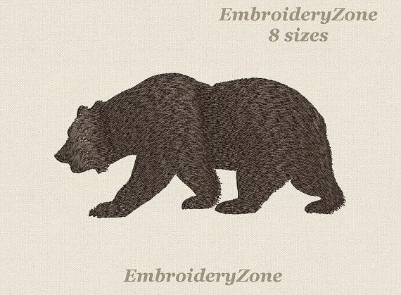 Bear Machine Embroidery Design Embroidery Pattern Silhouette Of