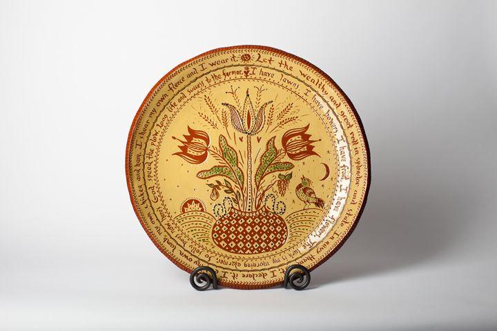 Folk Art Pottery Tree of Life Heart Ornament in Yellow