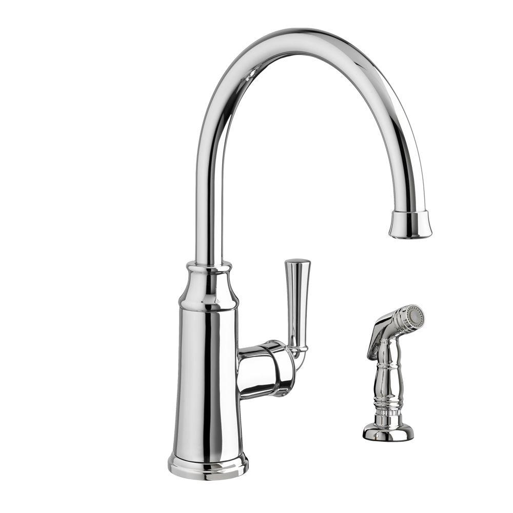 American Standard Portsmouth High-Arc Single-Handle Standard Kitchen Faucet with Side Sprayer in Polished Chrome
