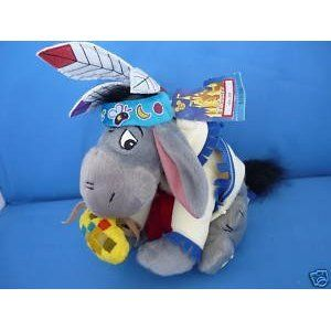 """Retired Disney Winnie the Pooh Native American Indian Eeyore 7"""" Plush Bean Bag Doll Mint with Tags"""