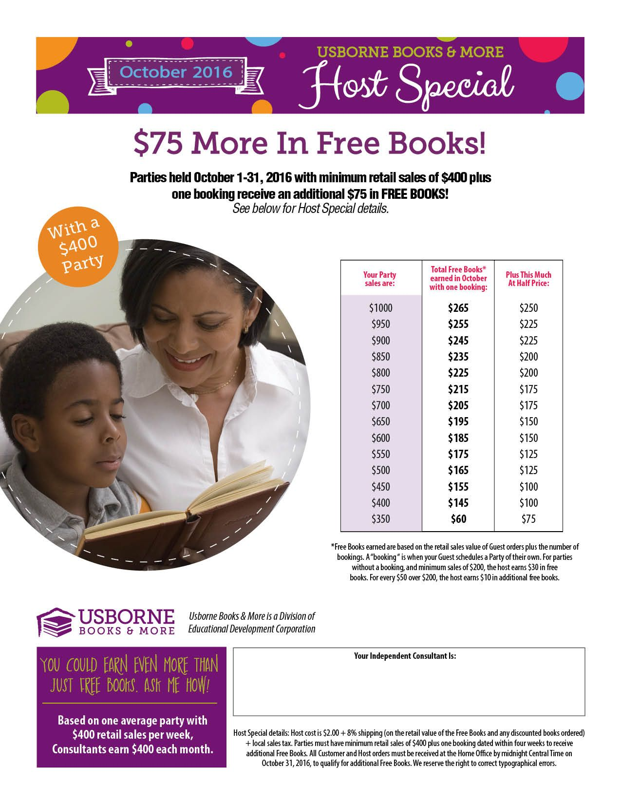 October look in free books if sales reach