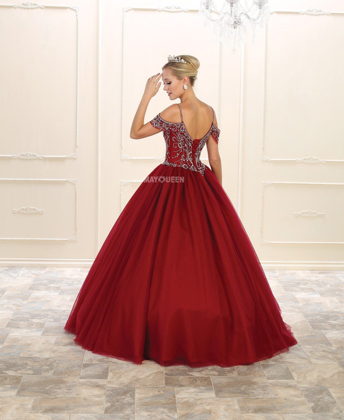 Mq lk off the shoulder sweetheart bead embellished corset tulle