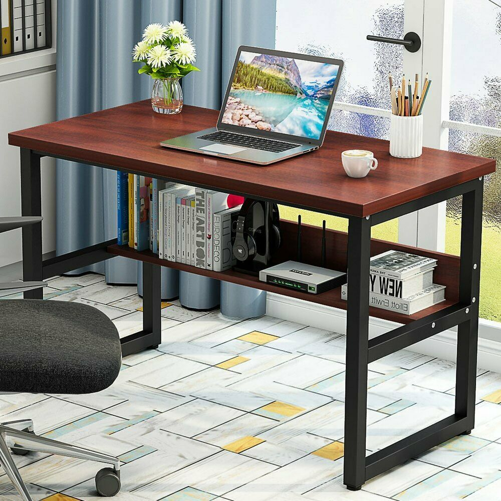 Details About Sturdy Computer Writing Desk With Bookshelf 47 55